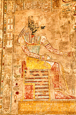 Reliefs, Chapel of Anubis, Hatshepsut Mortuary Temple (Deir el-Bahri), UNESCO World Heritage Site, Luxor, Thebes, Egypt, North Africa, Africa