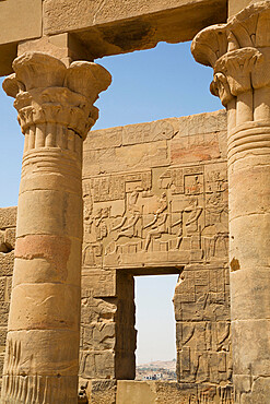 Columns, Vestibule of Nectanebo, Temple of Isis, UNESCO World Heritage Site, Philae Island, Aswan, Nubia, Egypt, North Africa, Africa