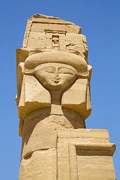 Hathor Headed Column, Chapel of Qartasa, Kalabsha, UNESCO World Heritage Site, near Aswan, Nubia, Egypt, North Africa, Africa
