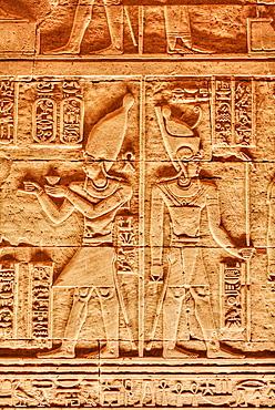 Bas Reliefs, Beit al-Wali Temple, Kalabsha, UNESCO World Heritage Site, near Aswan, Nubia, Egypt, North Africa, Africa