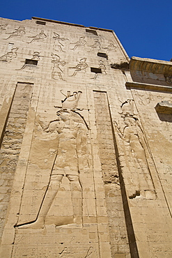 Bas Relief of God Horus on the left, First Pylon, Temple of Horus, Edfu, Egypt, North Africa, Africa