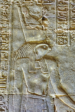 The God Horus, Bas Relief, Sanctuary of Horus, Temple of Horus, Edfu, Egypt, North Africa, Africa