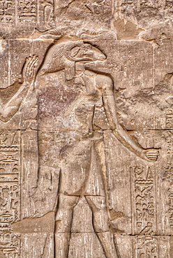 The God Khnum, Bas Relief, Hypostyle Hall, Temple of Khnum, Esna, Egypt, North Africa, Africa