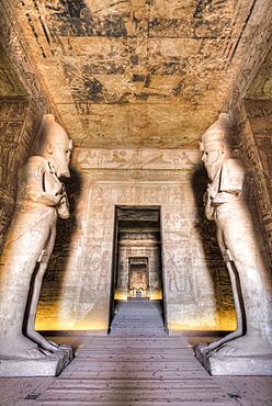 Ramses II statues, Hypostyle Hall, Ramses II Temple, UNESCO World Heritage Site, Abu Simbel, Nubia, Egypt, North Africa, Africa