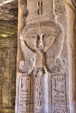 Square Pillar, Goddess Hathor head, Temple of Hathor and Nefertari, UNESCO World Heritage Site, Abu Simbel, Nubia, Egypt, North Africa, Africa
