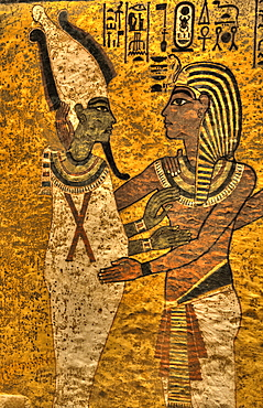 King Tut with Goddess Osiris, Tomb of Tutankhamun, KV62, Valley of the Kings, UNESCO World Heritage Site, Luxor, Thebes, Egypt, North Africa, Africa