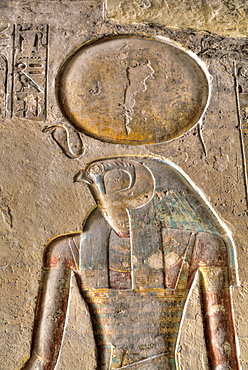 Relief of the God Horus, Tomb of Ramses III, KV11, Valley of the Kings, UNESCO World Heritage Site, Luxor, Thebes, Egypt, North Africa, Africa