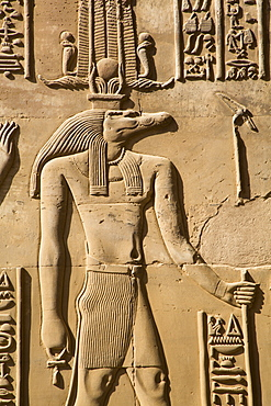 Crocodile God Sobek, Wall Reliefs, Temple of Sobek and Haroeris, Kom Ombo, Egypt, North Africa, Africa