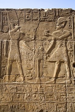 Pharaoh on right, God Amun on the left, Bas Relief, Luxor Temple, UNESCO World Heritage Site, Luxor, Thebes, Egypt, North Africa, Africa