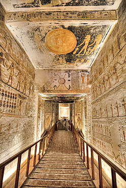 Hallway to Burial Chamber, Tomb of Ramses V and VI, KV9, Valley of the Kings, UNESCO World Heritage Site, Luxor, Thebes, Egypt, North Africa, Africa