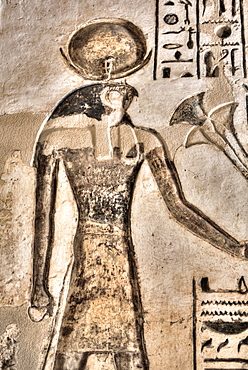 Relief of God Horus, Temple of Khonsu, Karnak Temple Complex, UNESCO World Heritage Site, Luxor, Thebes, Egypt, North Africa, Africa