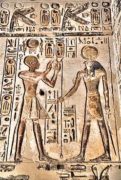 Relief, Pharaoh on left, God Horus on the right, Temple of Khonsu, Karnak Temple Complex, UNESCO World Heritage Site, Luxor, Thebes, Egypt, North Africa, Africa