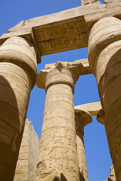 Columns, Great Hypostyle Hall, Karnak Temple Complex, UNESCO World Heritage Site, Luxor, Thebes, Egypt, North Africa, Africa