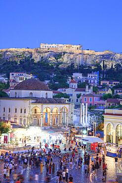 Evening, Monastiraki Square (foreground), The Acropolis (background), Athens, Greece