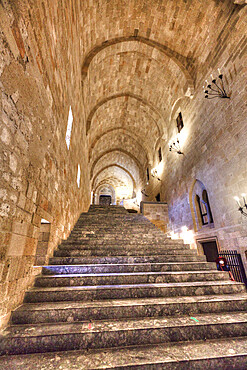 Grand Staircase, Palace of the Grand Master of the Knights, Rhodes Old Town, UNESCO World Heritage Site, Rhodes, Dodecanese Island Group, Greek Islands, Greece, Europe