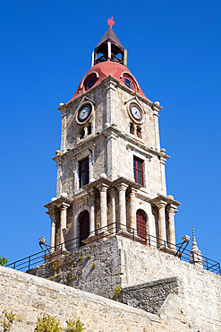 Medieval Roloi Clock Tower, Rhodes Old Town, Rhodes, Dodecanese Island Group, Greek Islands, Greece, Europe