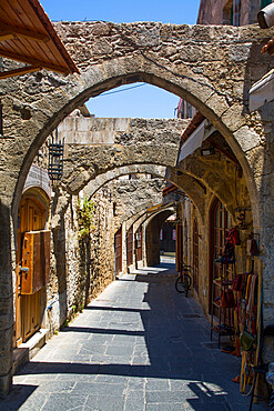 Street with Earthquake Supports, Rhodes Old Town, UNESCO World Heritage Site, Rhodes, Dodecanese Island Group, Greek Islands, Greece, Europe