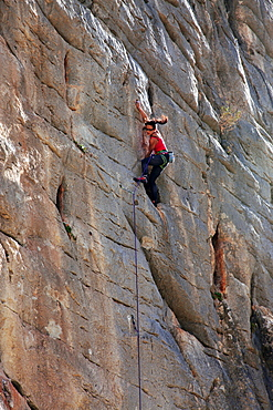 A rock climber at El Chorro, Andalucia, Spain, Europe