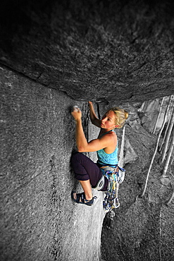 Rock climber in action, Cadarese, Italian Alps, northern Italy, Europe