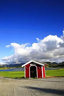 Bus shelter, Flatanger, Trondelag, Norway, Scandinavia, Europe
