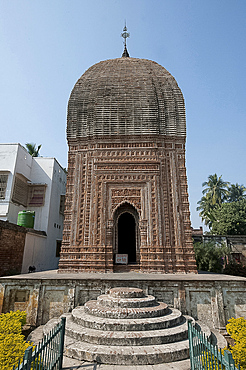 Pratapeshwar 19th century terracotta Temple, ornately carved with beautiful imagery and curvilinear roof, Kalna, West Bengal, India, Asia