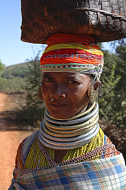 Bonda tribeswoman in traditional dress with beads, earrings and necklaces denoting her tribe, carrying shopping from market, Onukudelli, Orissa, India, Asia