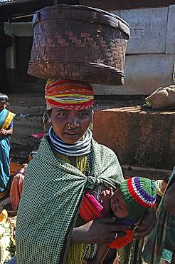 Bonda tribeswoman and her baby, Onukudelli, Orissa, India, Asia