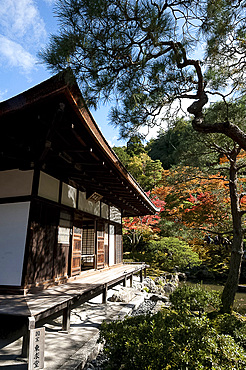 The Silver Pavilion, named because of moonlight reflecting on its dark wood walls, in Ginkakuji Zen temple garden, Kyoto, Japan, Asia