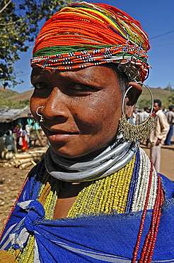 Bonda tribeswoman in traditional dress with beads and necklaces denoting her tribe, Onukudelli, Orissa, India, Asia