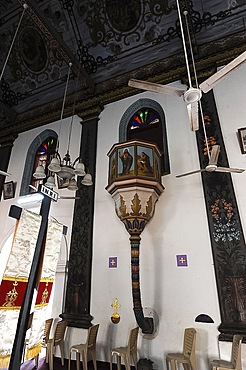 Interior, St. Mary's Forane Church, one of the oldest Christian churches in India, established in AD 427, Champakulam, Kerala, India, Asia