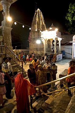 Devotees and families celebrate Diwali at Jagdish temple in Udaipur, Rajasthan, India, Asia