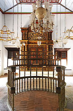 Interior of Jewish Synagogue built in 1640 and recently restored, with fine woodwork, Chendamangalam, Kerala, India, Asia