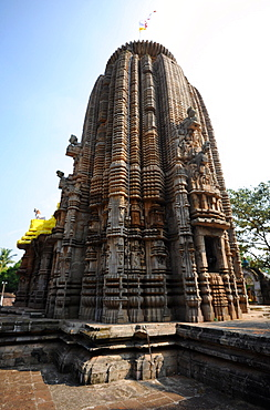 The Vimana over the inner sanctum at the 13th century Madhava temple to Lord Vishnu, Cuttack district, Odisha, India, Asia