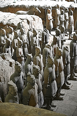 Terracotta Army, soldiers and a horse, buried with Emperor Qin Shi Huang in 210-209 BC, UNESCO World Heritage Site, Xian, Shaanxi, China, Asia