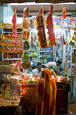 Small shop selling Diwali festival decorations, Udaipur, Rajasthan, India, Asia