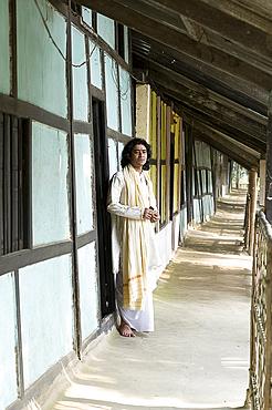 Monk, Dankhinbat Hindu monastery, Majuli Island, Assam, India, Asia
