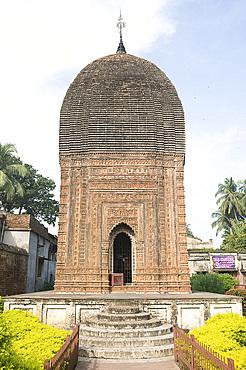 Pratapeswar Temple (Pratapeshvara Mandir), a 19th century Rekha Deul, decorated with terracotta carvings of Hindu gods and holy stories and activities, Kalna, West Bengal, India, Asia