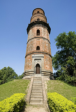 Octagonal Firoj minar in 12th century Gaur, once one of India's great cities, West Bengal, India, Asia