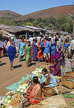 Bonda tribeswomen come down from the hills to sell vegetables in the weekly market in Onukudelli, Orissa, India, Asia