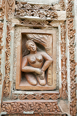 Carved rekha style facade of the 19th century Prataspeswar terracotta temple, built in 1849, in the temple complex, Kalna, West Bengal, India, Asia