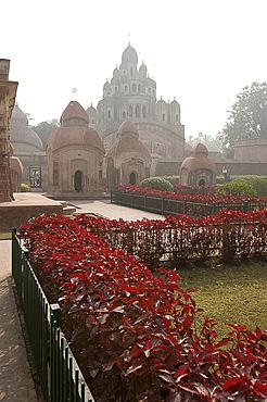 Gardens around Siddheswari Kalibari, dominating the terracotta temple complex, Kalna, West Bengal, India, Asia