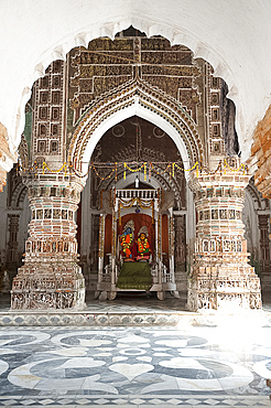 Hindu deities Lord Krishna and his consort Radha in the Lalji Mandir shrine, one of the terracotta temples at Kalna, West Bengal, India, Asia