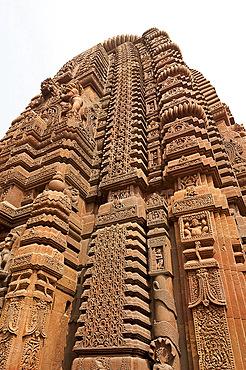 Ornately carved vimula of the 10th century Muktesvara temple, an early example of Nagara architecture, Bhubaneshwar, Orissa, India, Asia