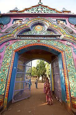 Ornately decorated entrance gateway to Joranda Hindu Mahima Dharma monastery, Joranda, Orissa, India, Asia