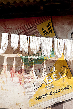 Skeins of washed spun raw silk hanging to dry along a village house wall, with painted advertisement, Naupatana village, Orissa, India, Asia