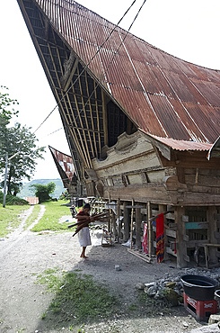 Batak woman carrying skeins of yarn to the looms under her traditional Batak house, Buhit, Samosir Island, Lake Toba, Sumatra, Indonesia, Southeast Asia, Asia