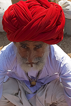 Man with red turban and village jewellery waiting for village jeep, Palanpur district, Gujarat, India, Asia