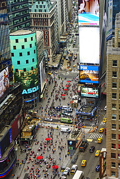 High angle view of Times Square, Theatre District, Midtown, Manhattan, New York City, New York, United States of America, North America