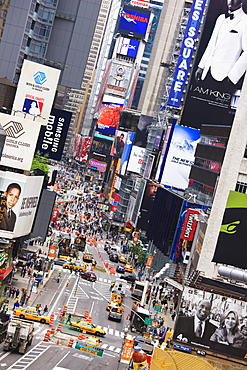 High angle view of Broadway looking towards Times Square, Manhattan, New York City, New York, United States of America, North America