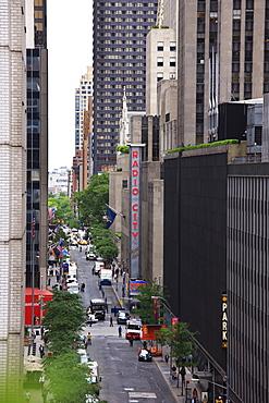 Down 50th Street towards Radio City Music Hall, Manhattan, New York City, New York, United States of America, North America
